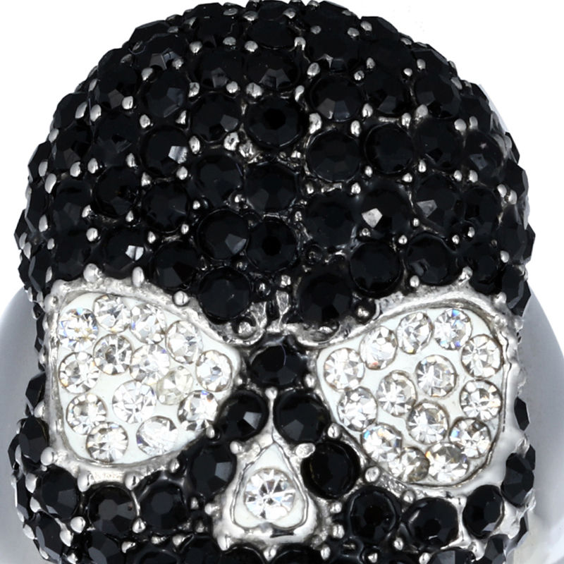WK-JZ0045(4) Stainless Steel Ring- Black crystal+Skull 20200912