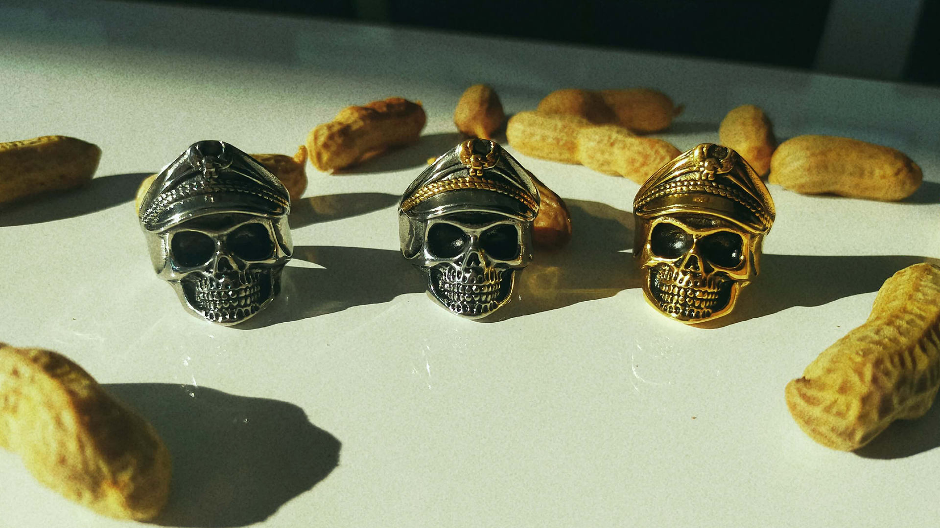 Skull rings for Men, plated gold, cool, fashion rings (3) 20210219