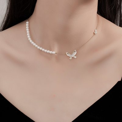 butterfly pearl diomand necklace
