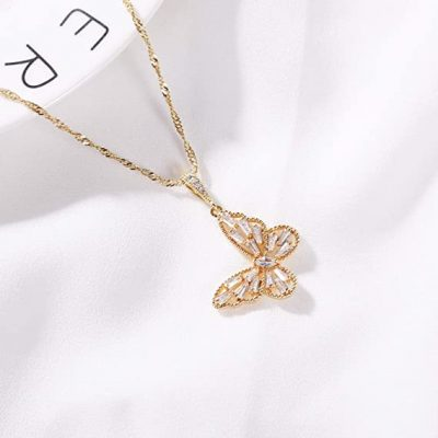 diomand butterfly necklace