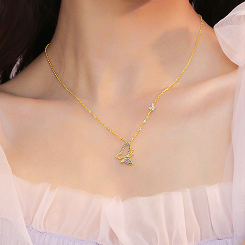 S925 dream butterfly collarbone chain light luxury niche butterfly sterling silver pendant