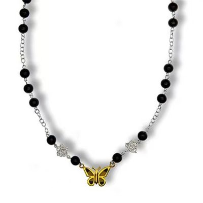gold black butterfly necklace