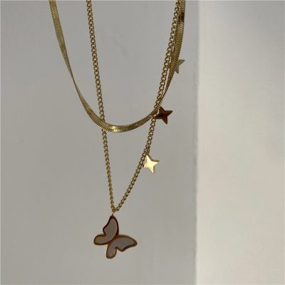 gold mens butterfly necklace