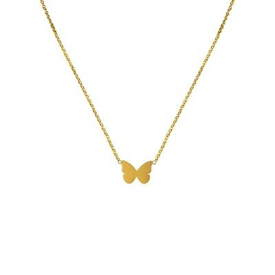 stainless steel gold plated butterfly necklace