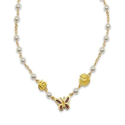 gold red butterfly necklace