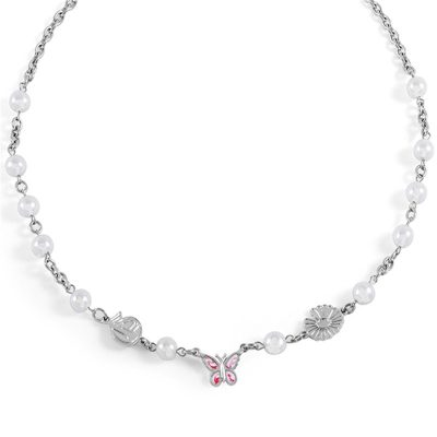 pink red butterfly necklace